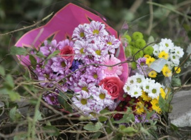 Flowers at the scene on the N72 road near Killarney where four teenagers were killed