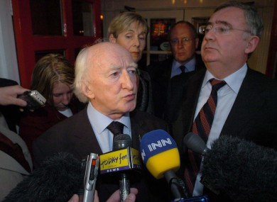Michael D Higgins with then-Labour leader Pat Rabbitte, speaking outside Leinster House, after the Labour Party decided not to put him forward as a candidate for the Irish Presidency in 2007
