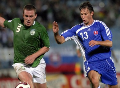 Richard Dunne and Filip Holosko during the sides' last encounter.