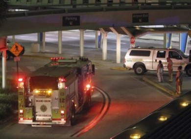 Miami-Dade Fire Rescue trucks are shown on the arrival level at Miami International Airport in Miami, early this morning, 3 September, 2010.