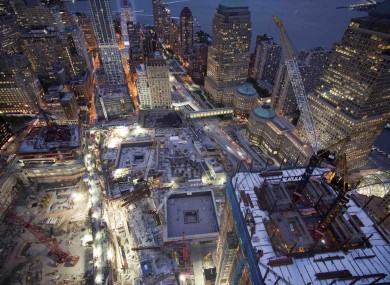 The site of the World Trade Centre last night, as construction continued on the new One World Trade Centre.