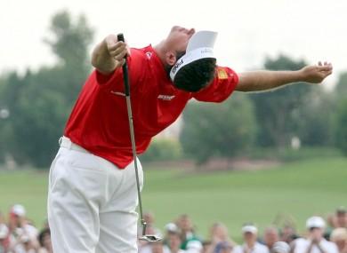 Lee Westwood celebrates at the Dubai World Championship