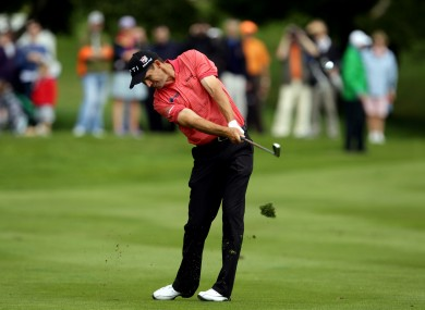 Ireland's Padraig Harrington hits his appraoch shot to the 9th green at this year's 3 Irish Open