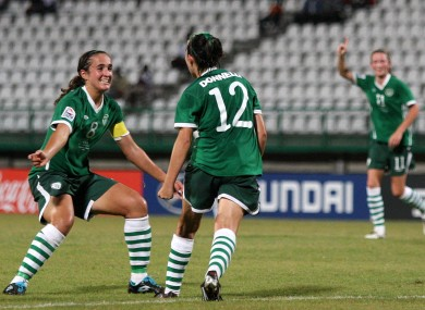 Ireland's Stacie Donnelly (12) celebrates her goal with Dora Gorman