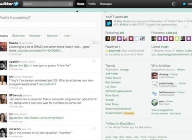 A screen grab of the new version of Twitter.