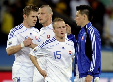 Juraj Kucka, Jan Durica, Miroslav Stoch, and Marek Hamsik od Slovakia after the World Cup exit to the Netherlands.