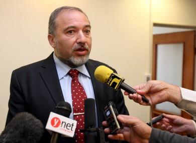 Israeli Foreign Minister Avigdor Lieberman of Yisrael Beitenu speaks at the weekly cabinet meeting