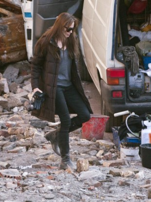 Angelina Jolie walks in a scene during the shooting of Untitled Love Story on 14 October, 2010.