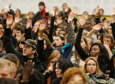Students in Paris West University Nanterre La Défense vote last week to go on strike this week, coinciding with their mid-term break.