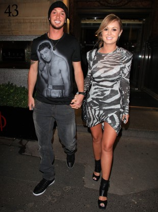 Stephen Ireland and fiance Jessica Lawlor step out in Manchester recently.