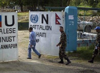 Nepalese soldiers at the UN's peacekeeping camp in Haiti: locals suspect the cholera epidemic was brought to the country by Nepalese soldiers, with the local strain similar to those found in Asia.