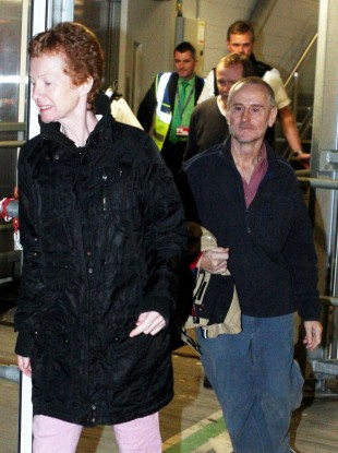 Rachel and Paul Chandler arrive in Heathrow last night, 388 days after being taken into captivity by Somali pirates.