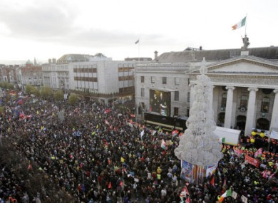Crowds gathered outside the GPO on Saturday where O'Toole was among the speakers.