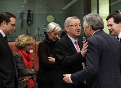 Finance ministers from EU member states gather in Brussels ahead of today's meeting.