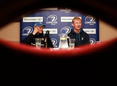 All eyes on Leinster coach Joe Schmidt and captain Leo Cullen at a media briefing in Dublin yesterday.