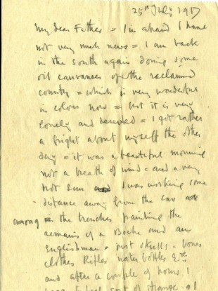 Image of one of the letters written by Orpen to his father in 1917.
