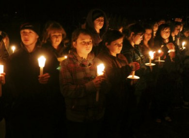 Photo dated 15 January, 2010, of a vigil outside the high school Phoebe Prince attended.