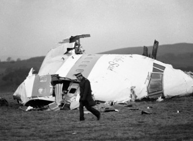 File photo dated 22 December, 1988, showing wreckage of Pan Am Flight 103.