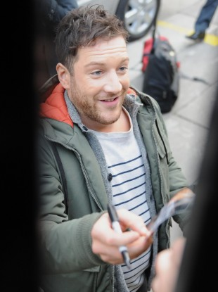 X Factor winner Matt Cardle signs autographs after appearing on ITV's 'Daybreak' this morning.