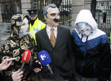 Blindboy Boat Club and Mr Chrome of the Rubberbandits pose at Leinster House last night
