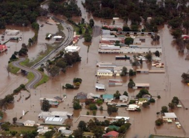 An aerial view shows flooded area in Chinchilla, southern Queensland state, Australia, 29 December, 2010.