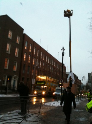 The man atop the cherry picker on Kildare St this morning.