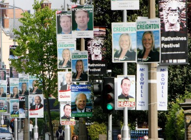 Election posters ahead of the 2007 general election in Rathmines. Posters for this year's election can't be erected at least until the Dáil is dissolved.