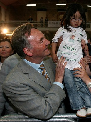 Michael Woods, pictured with granddaughter Mia (3), after winning his tenth consecutive term in Dáil Éireann in 2007.