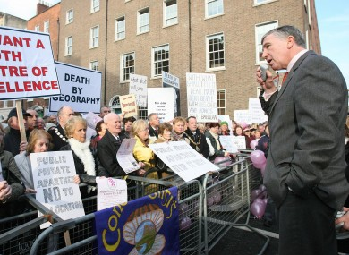 Jimmy Devins speaks at a protest against health cuts in 2007. He later quit the Fianna Fáil parliamentary party.