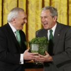 Bertie Ahern presents George W Bush with a bowl of shamrocks on St Patrick's Day 2008 when he was still Taoiseach, and Bush was still president of the US. The crystal piece was the only 'Bertie Bowl' Ahern managed to get his hands on as Taoiseach: on exiting the Dail this week after 34 years, Ahern said one of his biggest regrets was that he never got to build his national stadium. He came under heavy criticism from the public for not citing healthcare or the economic legacy his government left behind as his biggest regrets.