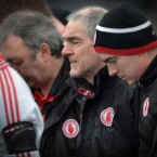 Tyrone manager Mickey Harte closes his eyes during the minute's silence for daughter Michaela at yesterday's match against Donegal<span class=