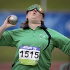 Ireland's Nadine Lattimore in the womens shot put F11 on day five of the IPC Athletics World Championship. <span class=