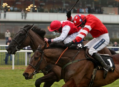 Joncol (far side) sees off Cooldine to win last year's Hennessy Gold Cup