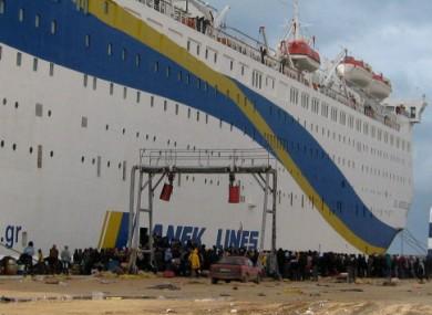 A boat leaving from Benghazi in Libya
