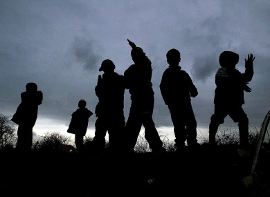 Children at a traveller halting site in west County Dublin in 2005.