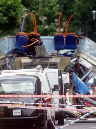 The wreckage of a bus bombed on Tavistock Square, London, in the July 7 bombings in 2005 - an attack carried out by 'home-grown' Islamic terrorists.