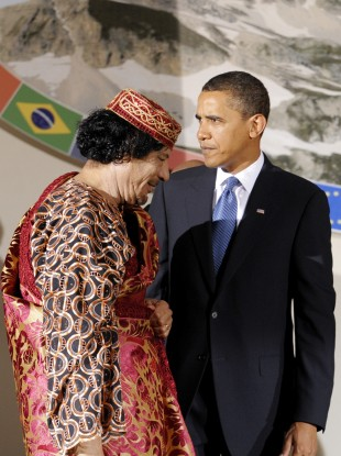 Gaddafi and Obama in Italy in 2009