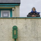 Islander and voter Annie Calvey outside the polling station on Inis Bigil, off the coast of Co Mayo yesterday. Pic: PA Images/Julien Behal.