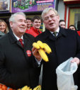 Labour leader Eamon Gilmore can't resist the opportunity to make a joke on Dublin's Moore Street at the expense of the outgoing government.<span class=