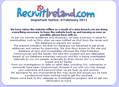 A message on the RecruitIreland.com homepage, as the site remains offline following a data protection breach.