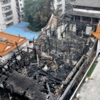 The grand hall of a 1000-year-old temple in Fuzhou city, China was gutted by fire this week.  A 1,000-year-old building is believed to have been destroyed in a fire at a Buddhist temple in Fuzhou, capital of east Chinas Fujian Province, Monday (7 February 2011). Local authorities confirmed the fire engulfed the grand hall and one of the wooden chambers of the Fahai Temple in downtown Fuzhou at 3:12 a.m. and burnt for an hour, but they have yet to assess the damage. The fire prevention arm of Fuzhous public security bureau sent 21 fire engines and 147 firefighters to the scene, and the flames were put out at 4:11 a.m., a spokesman of the bureau said. He said no casualties were reported and all the temples cultural relics were unharmed. The Fahai Temple was built in 945 and houses a large number of ancient Buddhist scriptures that are recognized as national treasures.<span class=
