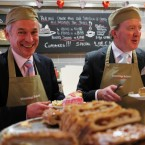 Fine Gael's Richard Bruton and John Perry get the snacks in on the trail. Pic: Stephen Kilkenny.