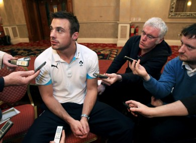 Tommy Bowe chats to the media at Killiney Castle Hotel this morning.