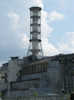 Reactor No 4 at the Chernobyl nuclear power plant, covered by a cement sarcophagus following the 1986 meltdown.