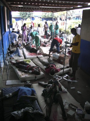 Patients being treated at a hospital in the Ivory Coast, where only one hospital remains open and medical supplies are of extremely short supply.