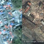 Kamaishi, seen before and after the tsunami.