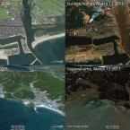 This Google composite image shows Yuriage (top) and Yagawahama (bottom). Both are in the Miyagi prefecture. Left is before the tsunami, and right is after it.