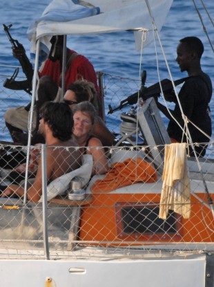 Armed pirates aboard a French yacht in 2009