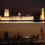 The Houses of Parliament, London, seen illuminated (top) and then in darkness as the lights were turned off to mark WWF's Earth Hour.