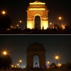 In this combination of two images, the landmark India Gate is seen lit, top, and then in darkness as the lights are turned out for one hour to mark Earth Hour, in New Delhi, India, Saturday, March 27, 2010. Buildings in some 4,000 cities in more than 120 countries were expected to unplug to reduce energy consumption and draw attention to the dangers of climate change, with participants turning off the lights when the clock strikes 8:30 p.m. local time. (AP Photo/PTI, Aman Sharma)